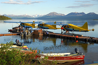 Alaska Float Planes On Lake