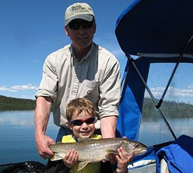 Bud Hudson With Gabe and Lake Trout